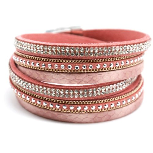 Bracelet-Double-Tour-Multi-Rangs-Ecailles-Clous-Strass-et-Chaines-Rose