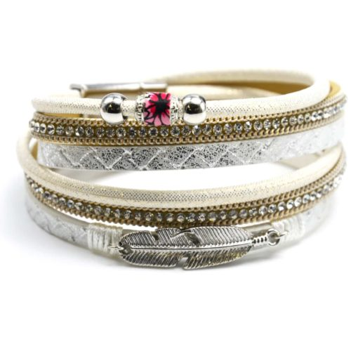Bracelet-Double-Tour-Multi-Rangs-Croco-Satine-Strass-Chaines-avec-Charm-Plume-Ethnique-Blanc