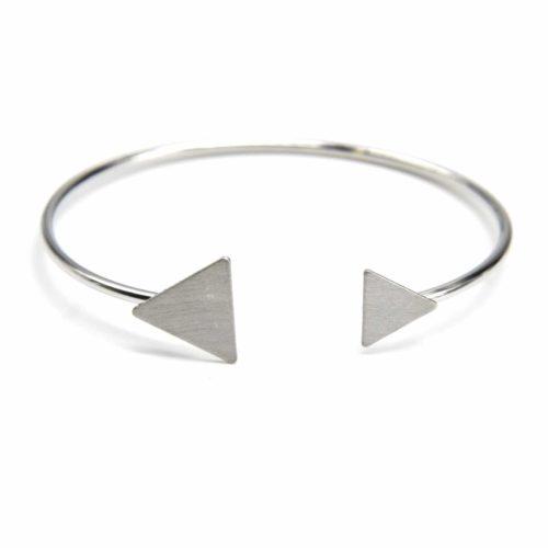 Bracelet-Jonc-Ouvert-avec-Double-Triangles-Metal-Brosse-Argente