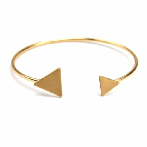 Bracelet-Jonc-Ouvert-avec-Double-Triangles-Metal-Brosse-Dore