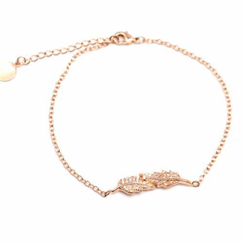 Bracelet-Fine-Chaine-avec-Charm-Feuilles-Strass-Zirconium-Or-Rose