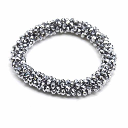 Bracelet-Elastique-Grappe-de-Perles-Brillantes-Torsadee-Gris