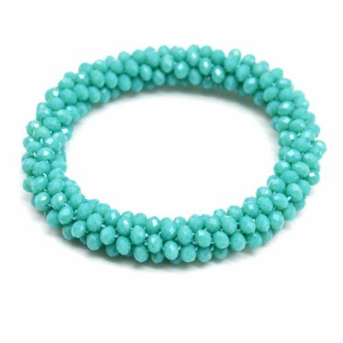 Bracelet-Elastique-Grappe-de-Perles-Brillantes-Torsadee-Vert-dEau