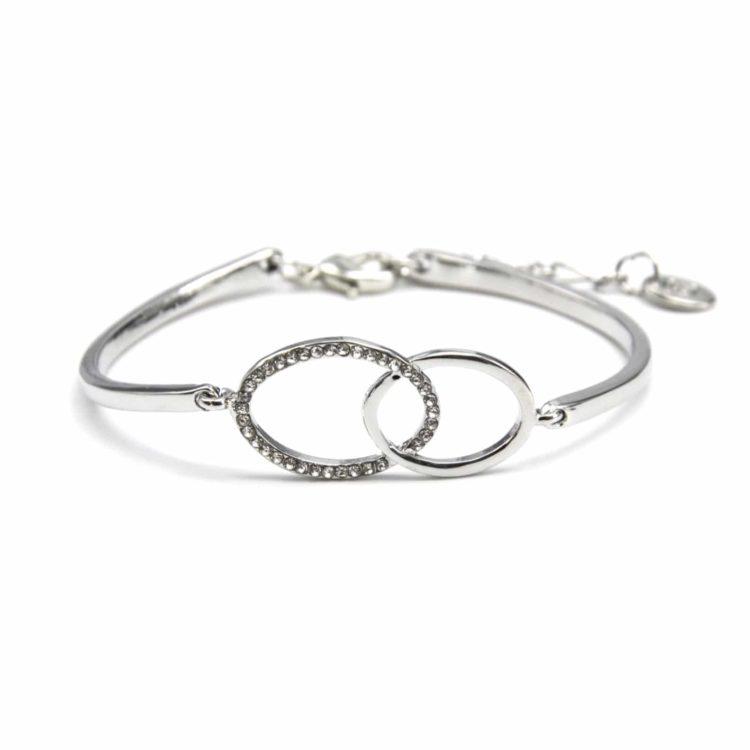 Bracelet-Jonc-avec-Ovales-Entrelaces-Strass-Metal-Argente