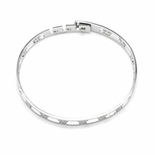 Bracelet-Jonc-Acier-Argente-avec-Bande-Ajouree-Etoiles