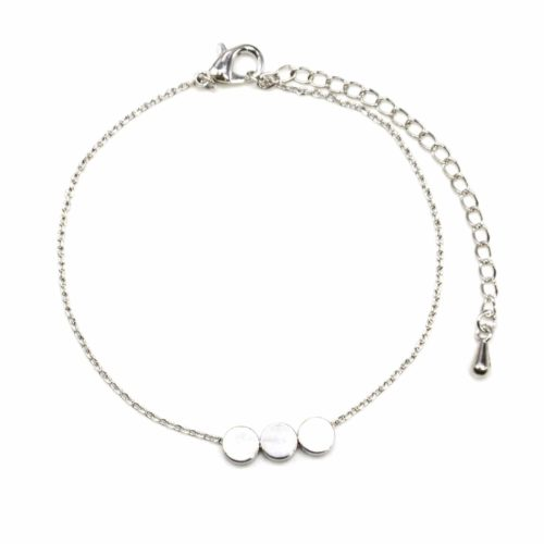 Bracelet-Fine-Chaine-avec-Charm-Argente-Triple-Cercles-Dore-a-lOr-Fin