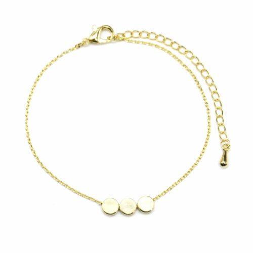 Bracelet-Fine-Chaine-avec-Charm-Dore-Triple-Cercles-Dore-a-lOr-Fin