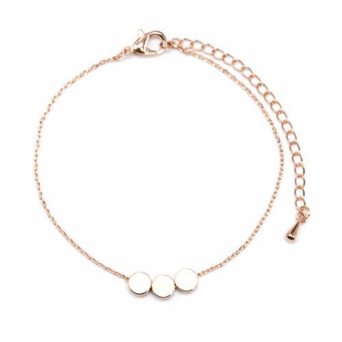 Bracelet-Fine-Chaine-avec-Charm-Or-Rose-Triple-Cercles-Dore-a-lOr-Fin