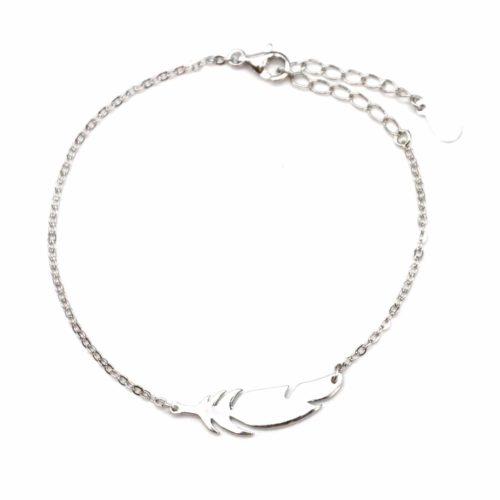 Bracelet-Fine-Chaine-avec-Charm-Plume-Ethnique-Argent-925