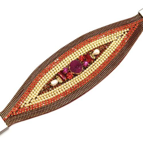 Bracelet-Manchette-Ellipse-avec-Chaines-Strass-Perles-et-Pierres-Rouge