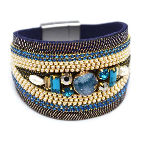 Bracelet-Manchette-Ellipse-avec-Chaines-Strass-Perles-et-Pierres-Bleu