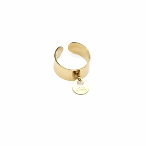 Bague-Ouverte-Large-Acier-Dore-avec-Pampille-Medaille-La-Vie-en-Rose