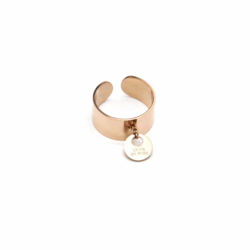 Bague-Ouverte-Large-avec-Pampille-Medaille-La-Vie-en-Rose-Acier-Or-Rose