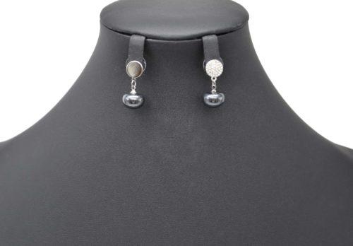 Boucles-dOreilles-Pendantes-Cercle-Strass-Metal-Argente-avec-Perle-Gris-Fonce