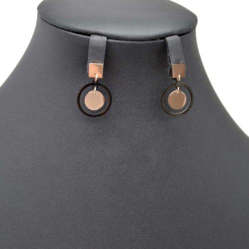 Boucles-dOreilles-Pendantes-avec-Carre-et-Double-Cercles-Acier-Or-RoseNoir