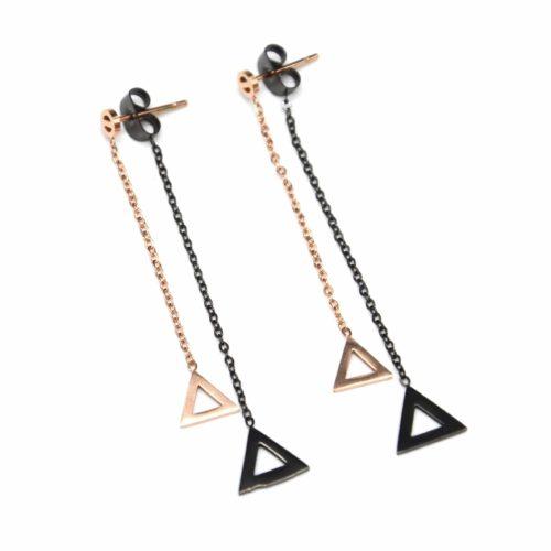 Boucles-dOreilles-Traversantes-2-en-1-avec-Double-Triangles-Pendants-Acier-Or-RoseNoir