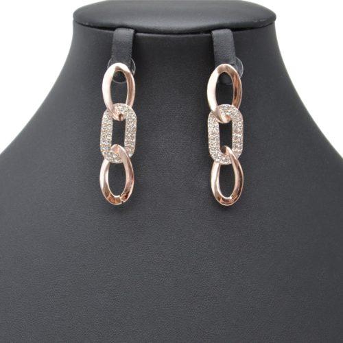 Boucles-dOreilles-Pendantes-Multi-Maillons-Strass-et-Metal-Or-Rose