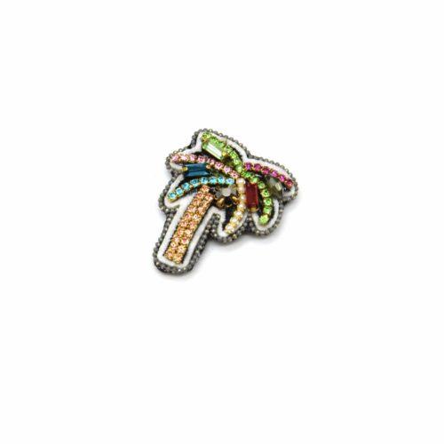 Broche-Patch-Aimante-Palmier-Brode-Blanc-avec-Strass-Pierres-Multicolore-et-Perles