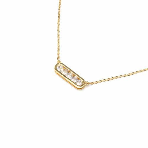 Collier-Fine-Chaine-Metal-Dore-avec-Pendentif-Rectangle-Ovale-Pierres-Zirconium