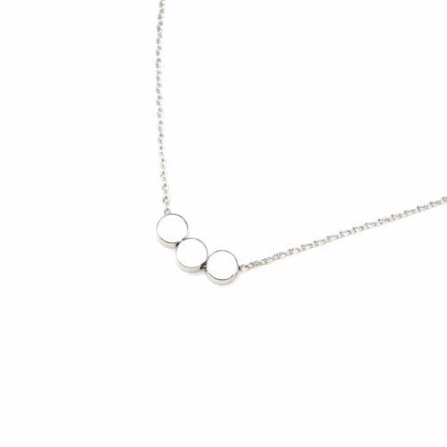 Collier-Fine-Chaine-Pendentif-Argente-Triple-Cercles-Dore-a-lOr-Fin