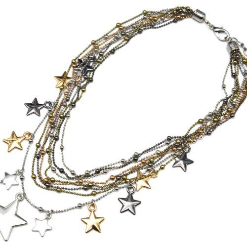 Collier-Plastron-Multi-Chaines-avec-Boules-et-Etoiles-Metal-Tricolore
