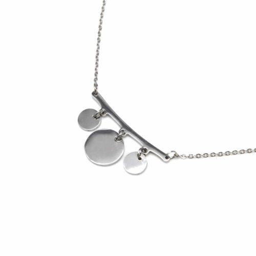 Collier-Fine-Chaine-Pendentif-Triple-Cercles-Acier-Argente
