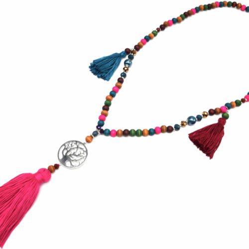 Sautoir-Collier-Perles-et-Pierres-avec-Arbre-de-Vie-Metal-Argente-et-Pompons-Fils-Multicolore