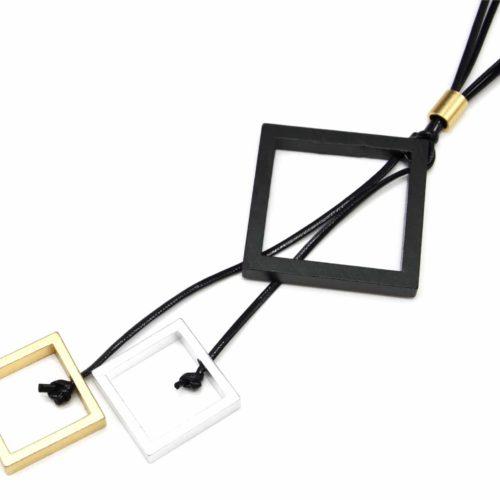 Sautoir-Collier-Cordons-Noir-Ajustable-avec-Pendentif-Y-Multi-Losanges-XXL-Metal-Mat-Tricolore