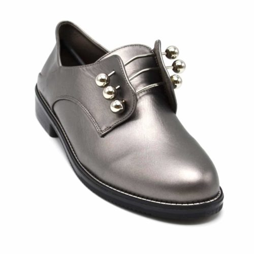 Derbies-Simili-Cuir-Satine-avec-Triple-Barres-et-Boules-Metal-Argente-Gris