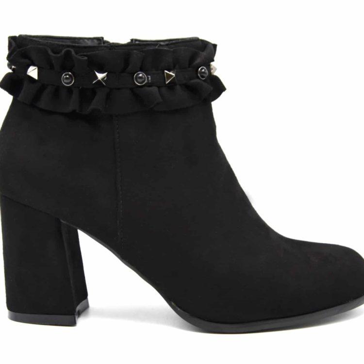 Bottines-Boots-a-Talon-Carre-Effet-Daim-avec-Contour-Fronces-Clous-et-Perles-Noir