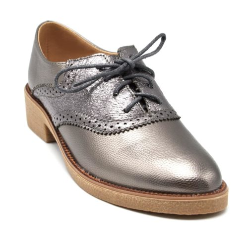 Derbies-Simili-Cuir-Satine-Perfore-avec-Surpiqures-Lacets-et-Petit-Talon-Carre-Gris