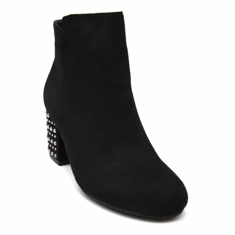 Bottines-Boots-Effet-Daim-avec-Talon-Carre-Orne-de-Clous-Argentes-Noir
