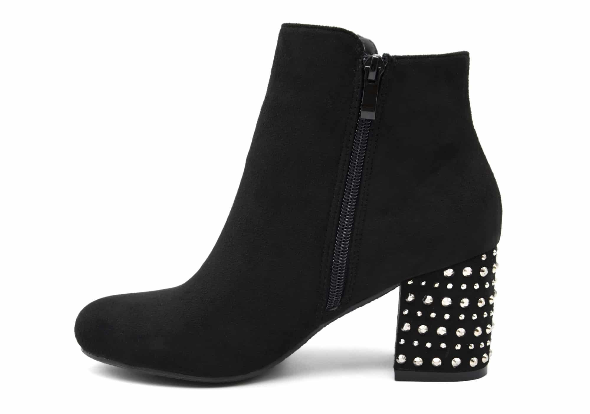 shf93 bottines boots effet daim avec talon carr orn de. Black Bedroom Furniture Sets. Home Design Ideas