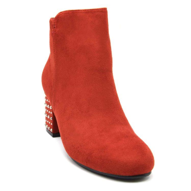Bottines-Boots-Effet-Daim-avec-Talon-Carre-Orne-de-Clous-Argentes-Rouge