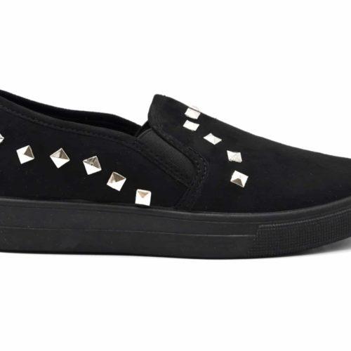 Baskets-Slip-On-Sneakers-Effet-Daim-avec-Clous-Pyramide-Argente-Noir