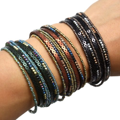 Bracelet-Double-Tour-Multi-Rangs-Clous-Cercles-et-Perles-Rocaille