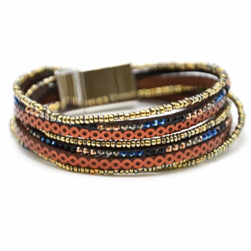 Bracelet-Double-Tour-Multi-Rangs-Clous-Cercles-et-Perles-Rocaille-Dore