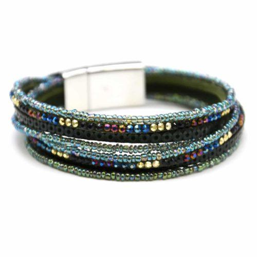 Bracelet-Double-Tour-Multi-Rangs-Clous-Cercles-et-Perles-Rocaille-Bleu
