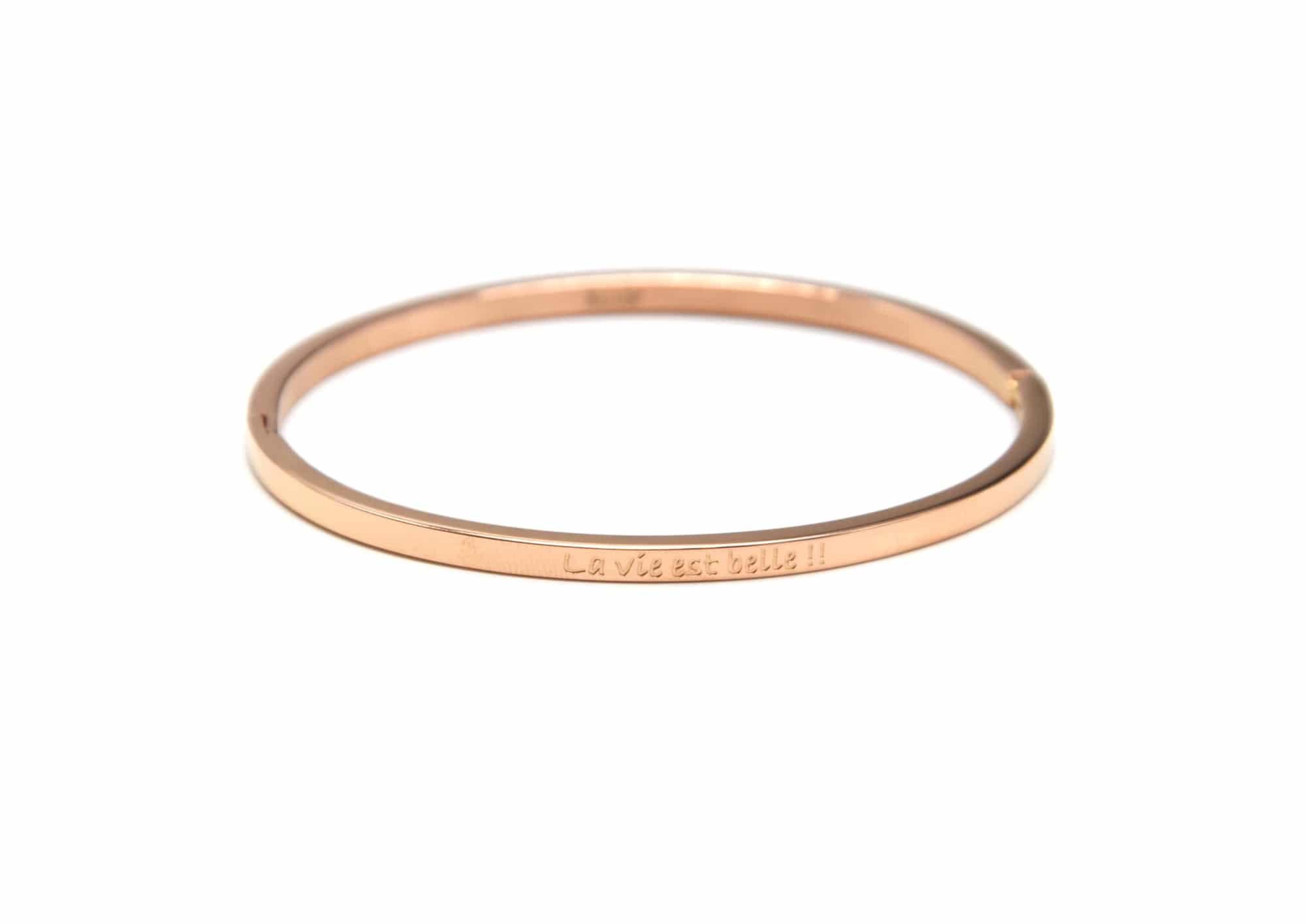 Bracelet Jonc Fin Acier Or Rose avec Message Carpe Diem BC1664F