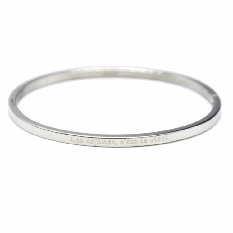 Bracelet-Jonc-Fin-Acier-Argente-avec-Message-Les-copines-cest-la-vie