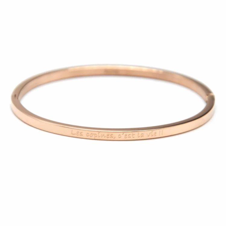 Bracelet-Jonc-Fin-Acier-Or-Rose-avec-Message-Les-copines-cest-la-vie