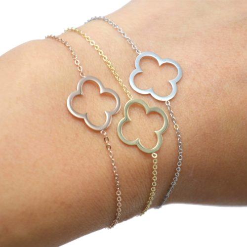Bracelet-Fine-Chaine-avec-Charm-Trefle-Chance-Contour-Acier