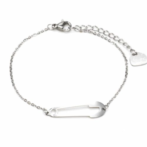 Bracelet-Fine-Chaine-avec-Charm-Epingle-Contour-Acier-Argente