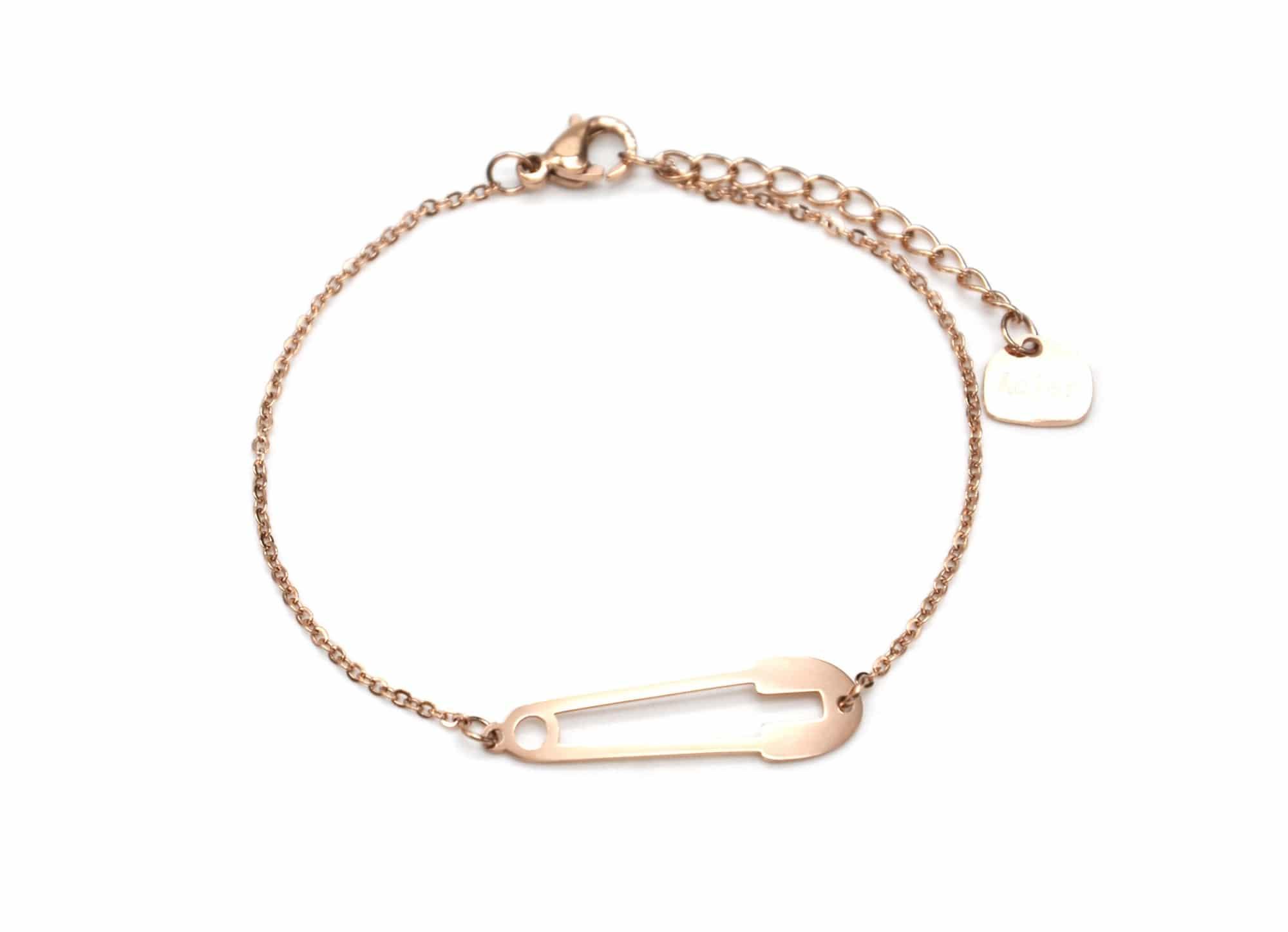 bc2632f bracelet fine cha ne avec charm epingle nourrice acier or rose oh my shop. Black Bedroom Furniture Sets. Home Design Ideas
