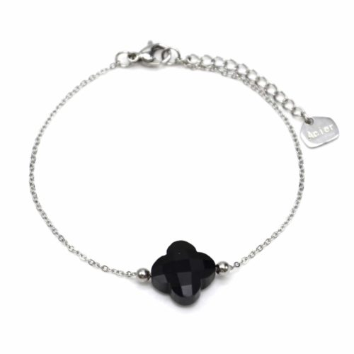 Bracelet-Fine-Chaine-Acier-Argente-avec-Charm-Trefle-Pierre-Noire