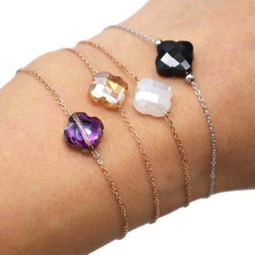 Bracelet-Fine-Chaine-Acier-avec-Charm-Trefle-Pierre