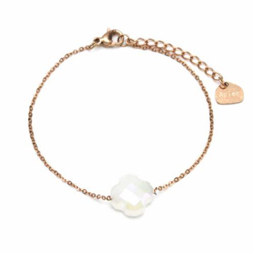 Bracelet-Fine-Chaine-Acier-Or-Rose-avec-Charm-Trefle-Pierre-Blanche