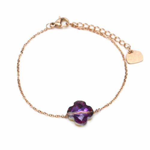 Bracelet-Fine-Chaine-Acier-Or-Rose-avec-Charm-Trefle-Pierre-Violette