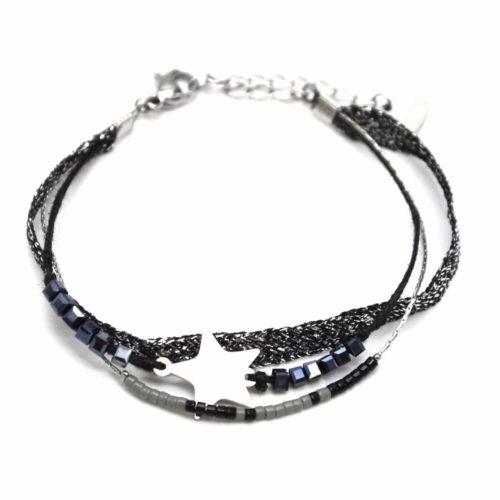 Bracelet-Multi-Rangs-Perles-et-Tissu-Brillant-Noir-avec-Charm-Etoile-Acier-Argente