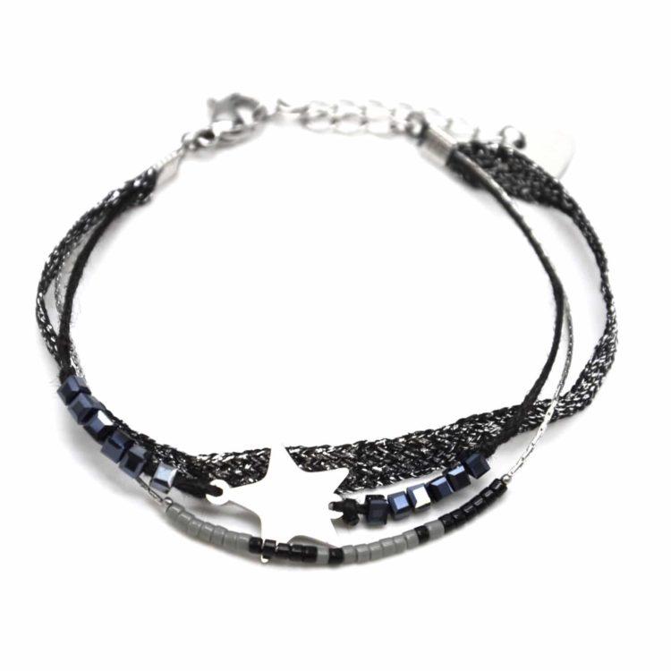 Bracelet-Multi-Rangs-Perles-et-Tissu-Brillant-Noir-avec-Etoile-Acier-Argente